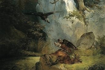 Фридрих Гауэрман. Стервятники на мертвом олене (фрагмент). 1832