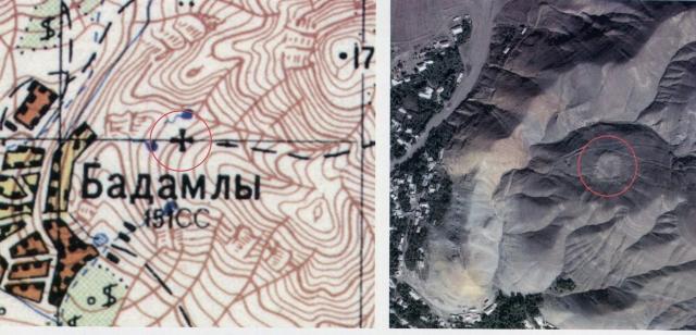 Место средневекового армянского монастыря в селе Оцоп (совр. Бадамлы) на карте 1976 г. (масштаб 1:50000) и сегодня