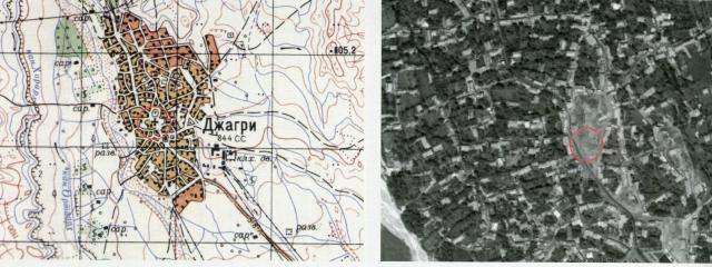 Чахук (ныне Джахри). Место храма Сурб Ованес на карте 1976 г. (масштаб 1:50000) и сегодня