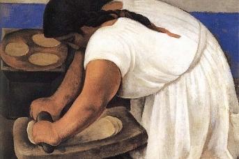 Диего Ривера. Женщина, раскатывающая кукурузное тесто. 1924