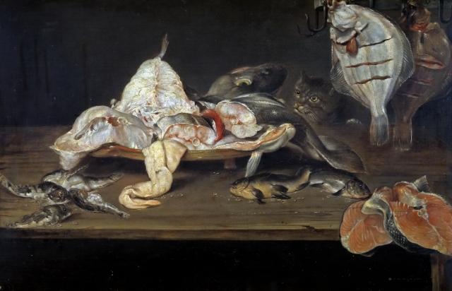 Александр Адриансен. Рыбный натюрморт с котом 1581-1661
