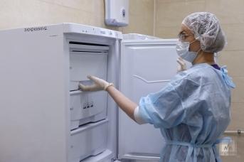 Медсестра достаёт из морозильника вакцину «Гам-КОВИД-Вак». Дарья Драй © ИА REGNUM