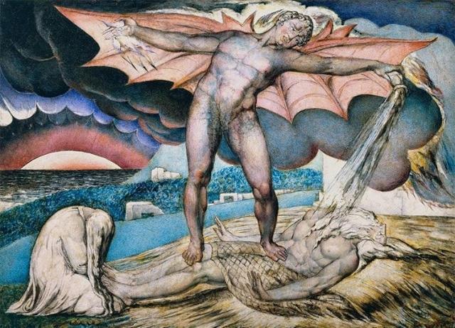 Уильям Блейк. Дьявол, поражающий Иова проказой. 1826