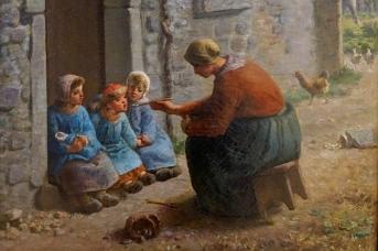 Жан Франсуа Милле. Кормление птенцов (фрагмент).1860