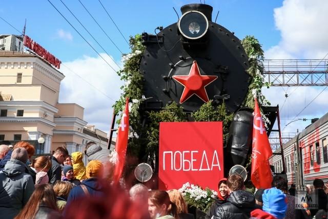 Исторический состав «Поезд Победы» на вокзале в Екатеринбурге
