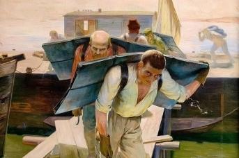 Григорий Медведев. Грузчики на Волге (фрагмент). 1929