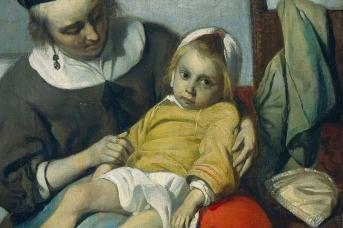 Габриель Метсю. Больной ребенок (фрагмент). Около 1660