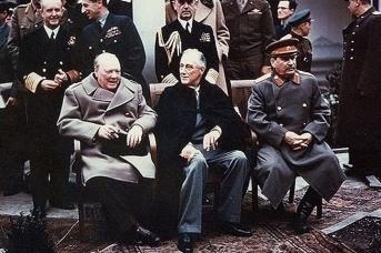 Уинстон Черчилль, Франклин Делано Рузвельт и Иосиф Виссарионович Сталин. Ялта, февраль 1945 г.