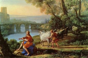 Клод Лоррен. Пейзаж с Аполлоном и Меркурием (фрагмент). 1645