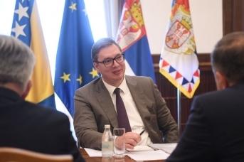 Александр Вучич в ходе встречи с делегацией Республики Сербской. 2 июня 2021 года, Белград. Predsednik.rs