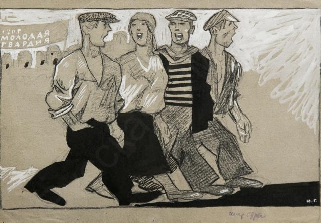 Юлий Ганф. «Золотая молодежь», «Стальная молодежь». Карикатуры для журнала «Крокодил». 2-й лист. 1924