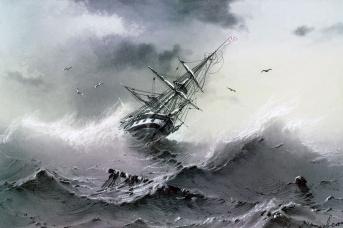 Иван Айвазовский. Тонущий корабль. 1854,