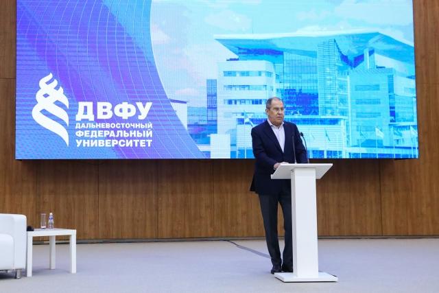 Выступление Сергея Лаврова в Дальневосточном федеральном университете (ДВФУ). 8 июля 2021 года