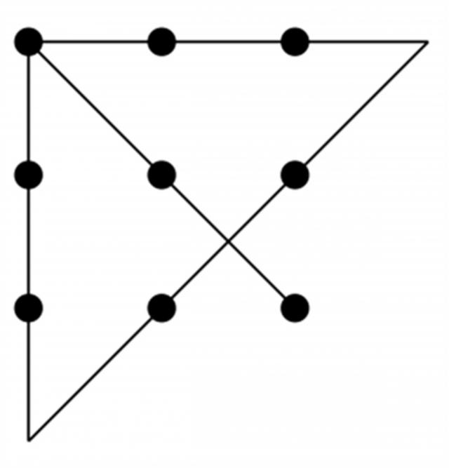 Рис. 3. Решение задачи 9 точек на в плоскости