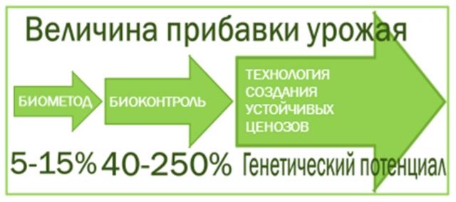 Рис. 13. Прибавка урожайности на трёх уровнях биологизации