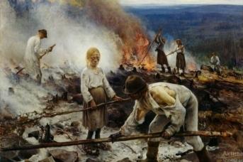 Ээро Ярнефельт. Сжигание сухой травы. 1893