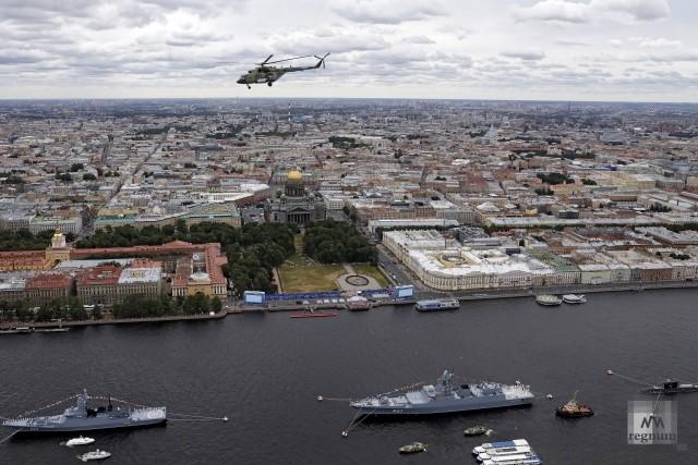 Генеральная репетиция Главного военно-морского парада в Санкт-Петербурге