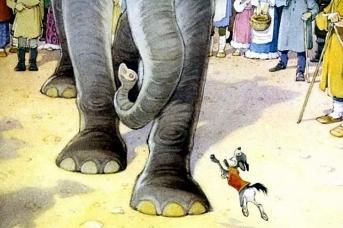 «Ай, Моська! Знать она сильна, что лает на Слона!» Иллюстрация к басне И. А. Крылова «Слон и Моська»