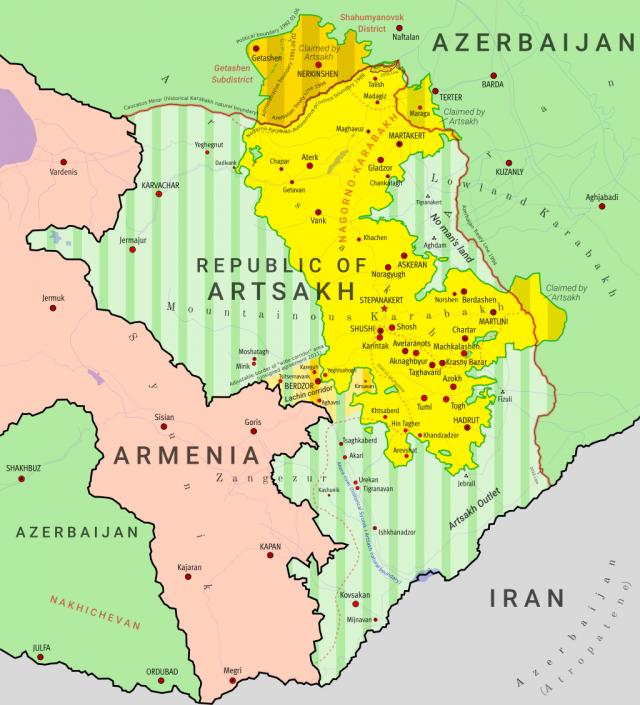 Карта НКР и прилегающих территорий до начала 2-й карабахской войны