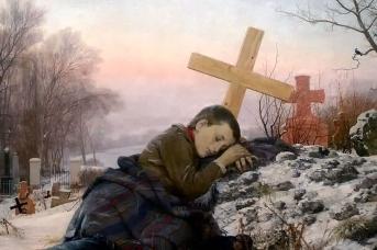 Урош Предич. Сирота на могиле матери. 1888
