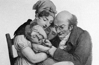 L. Boilly. Врач вакцинирует маленького ребенка. 1827