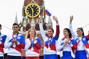 Торжественная церемония чествования российских олимпийцев на Красной площади. Minsport.gov.ru