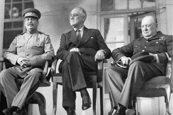 И. В. Сталин, Ф. Д. Рузвельт, У. Черчилль. Тегеран, 1943