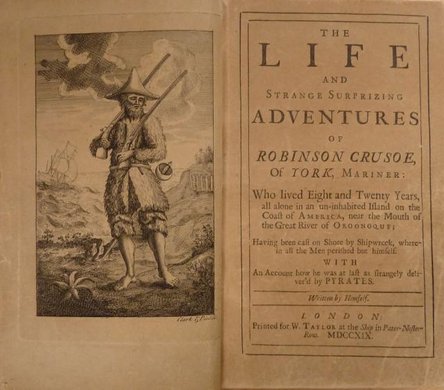 Титульный лист первого издания романа «Робинзон Крузо» Даниеля Дефо. 1719