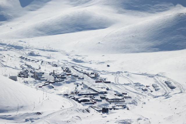 Зимний вид на золото-серебряное месторождение «Кекура» в Билибинском районе Чукотки
