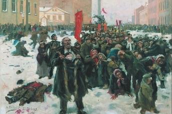 9 января 1905 г. на Васильевском острове (фрагмент). Владимир Маковский, 1905