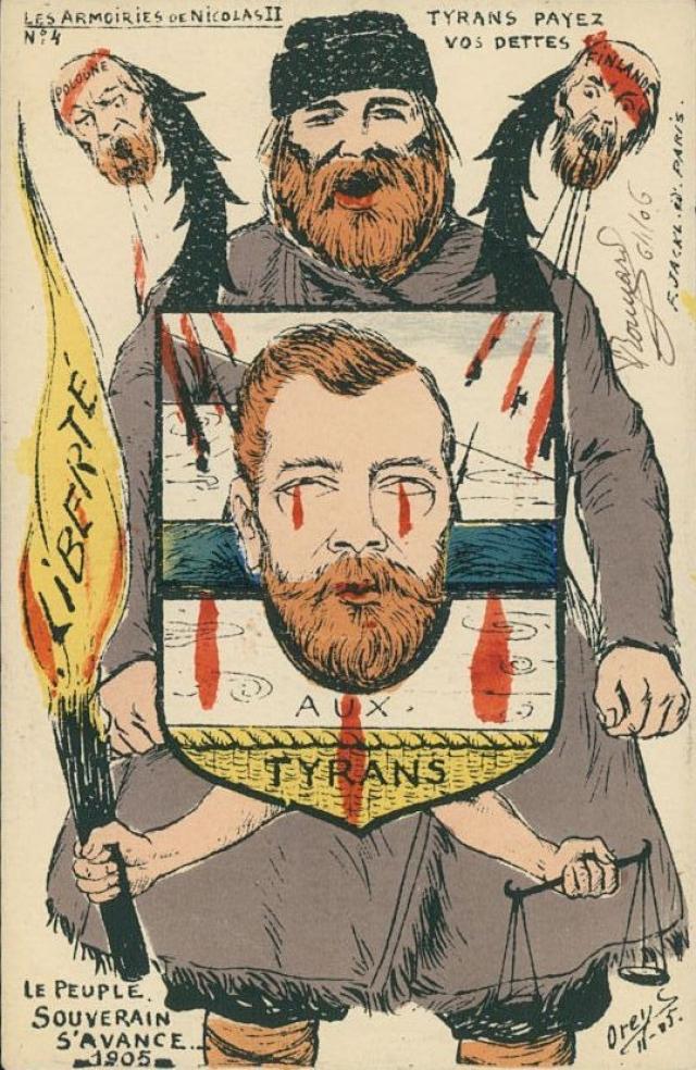 Карикатура на Николая II после Кровавого воскресенья