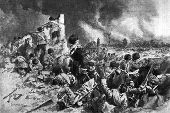 Русские солдаты в ходе Мукденского сражения обороняются в развалинах фанзы