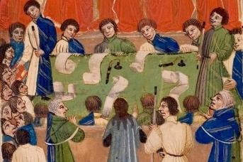 Дебаты. Фрагмент картины Суд королевской скамьи. 1460 год
