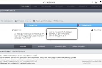 Скриншот с сайта Арбитражного суда Ульяновской области