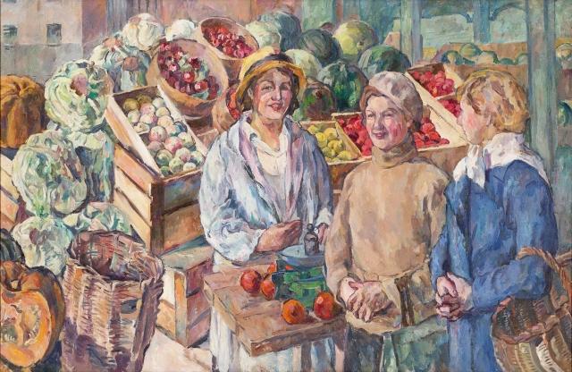 Аристах Лентулов. У овощного ларька. 1932