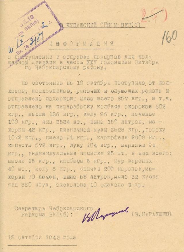 Информация Чебоксарского райкома ВКП(б) о поступлении и отправке подарков для подшефной дивизии. 15 октября 1942