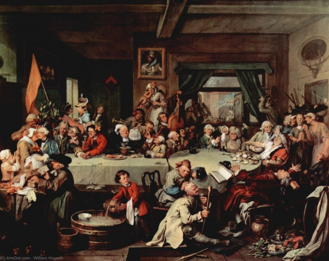 Уильям Хогарт. Выборы. Предвыборынй банкет. 1755
