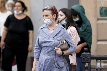 Горожане в масках на улице